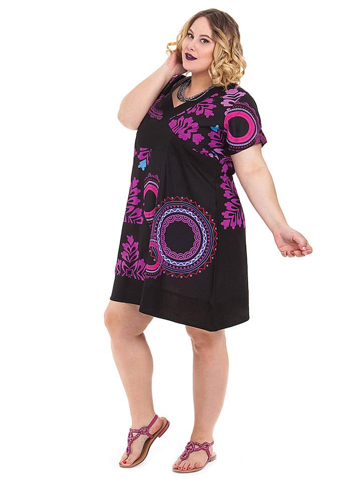 Aller Simplement Kleid in Schwarz/ Lila