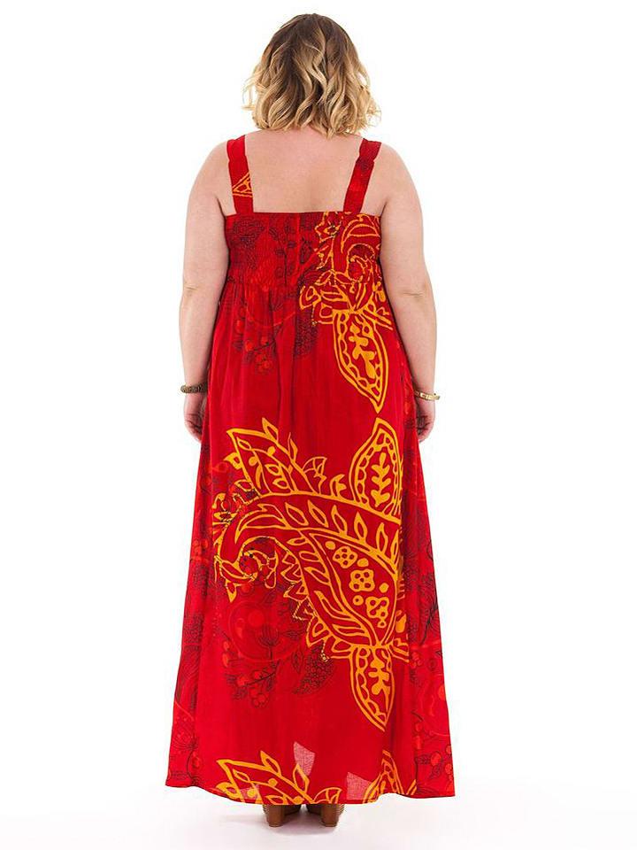 Aller Simplement Kleid in Rot/ Gelb