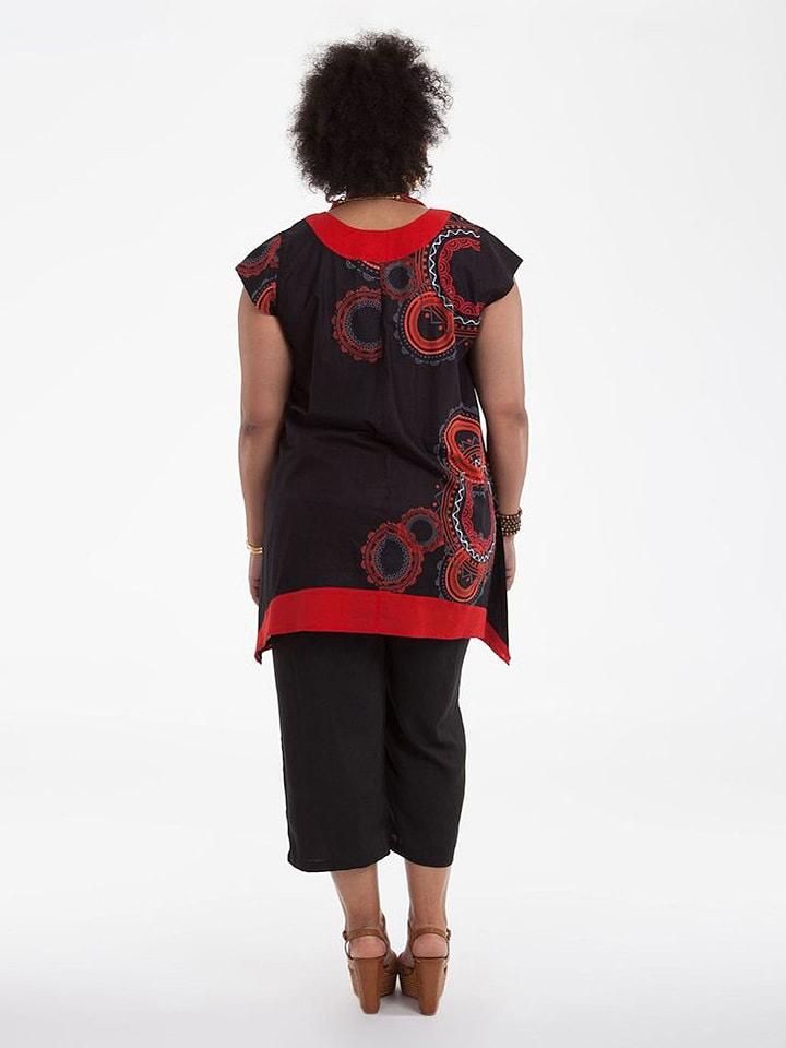 Aller Simplement Tunika in Schwarz/ Rot