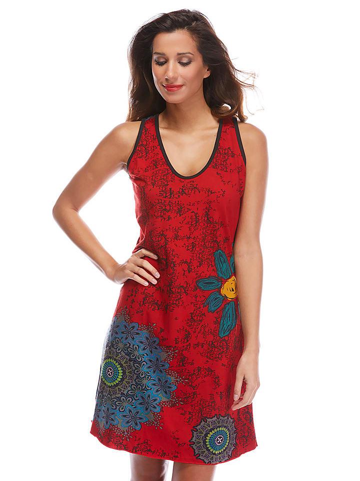Chaitanya Kleid in Rot/ Bunt