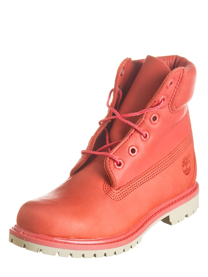 Timberland Leder-Boots in Koralle