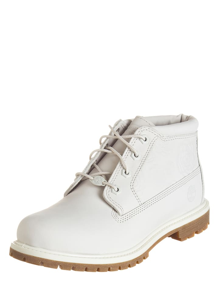 Timberland Leder-Boots in Weiß