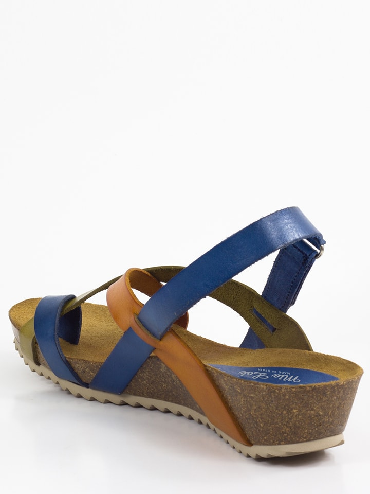 Mia Loé Leder-Sandalen in Blau/ Orange