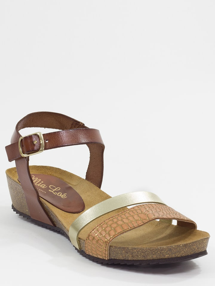 Mia Loé Leder-Sandalen in Braun/ Silber