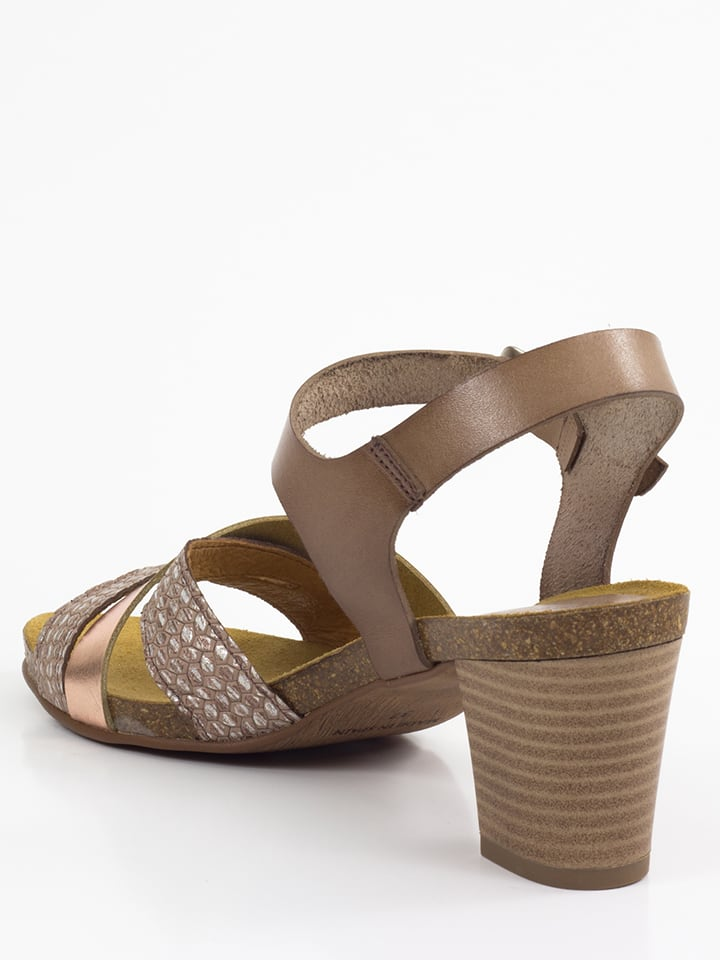 Mia Loé Leder-Sandaletten in Taupe