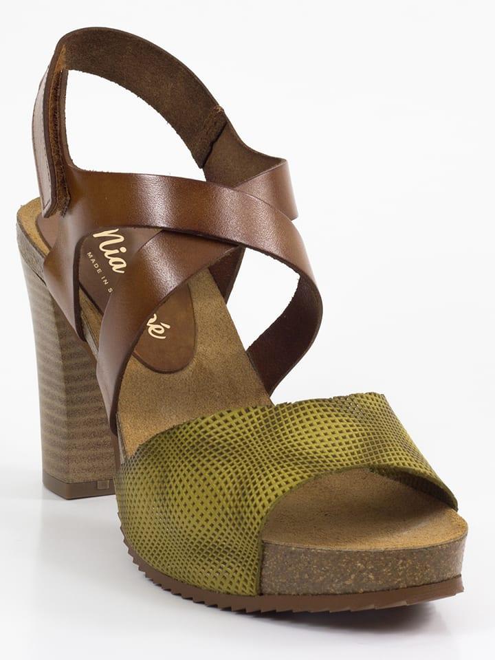 Mia Loé Leder-Sandaletten in Braun/ Hellgrün