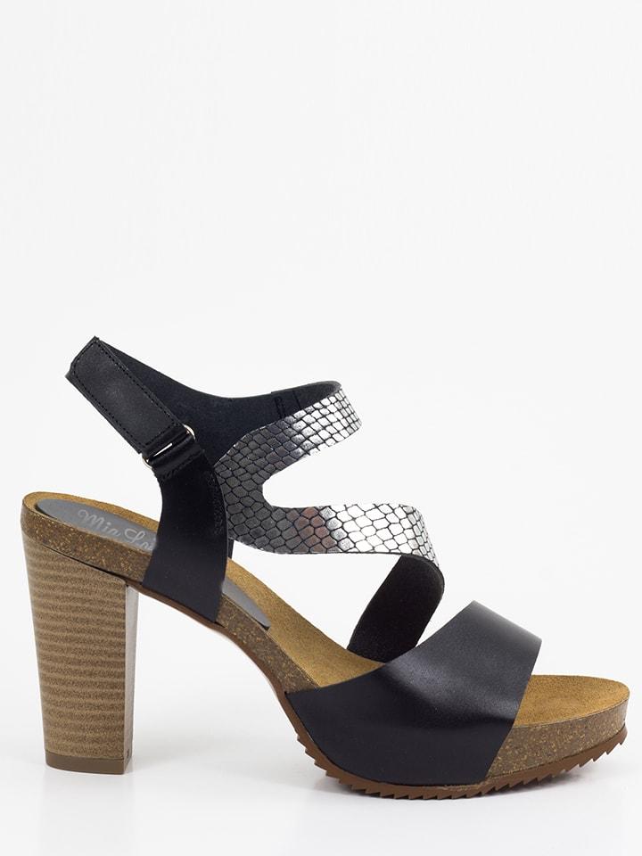 Mia Loé Leder-Sandaletten in Schwarz/ Silber