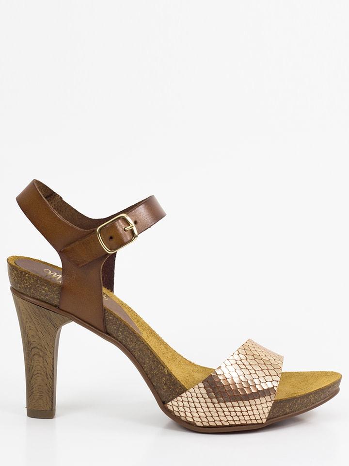 Mia Loé Leder-Sandaletten in Braun/ Gold