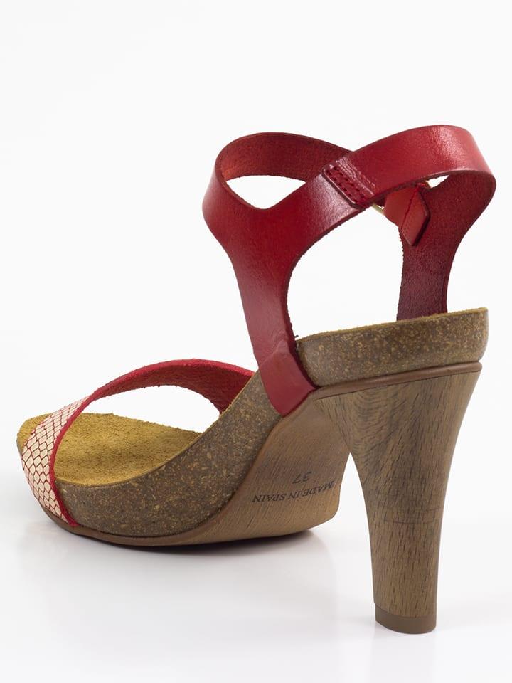 Mia Loé Leder-Sandaletten in Rot/ Gold