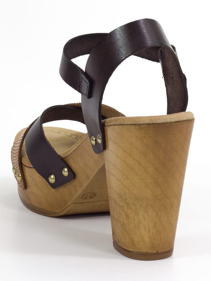 Mia Loé Leder-Sandaletten in Dunkelbraun