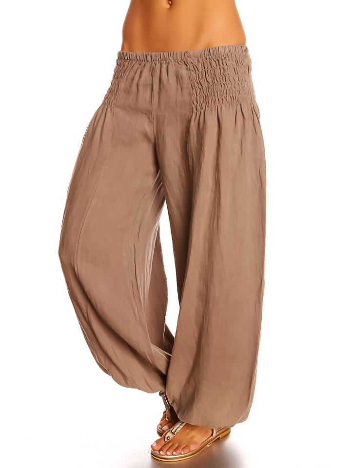 "Spécial Lin Leinen-Hose ""Stephy"" in Taupe"