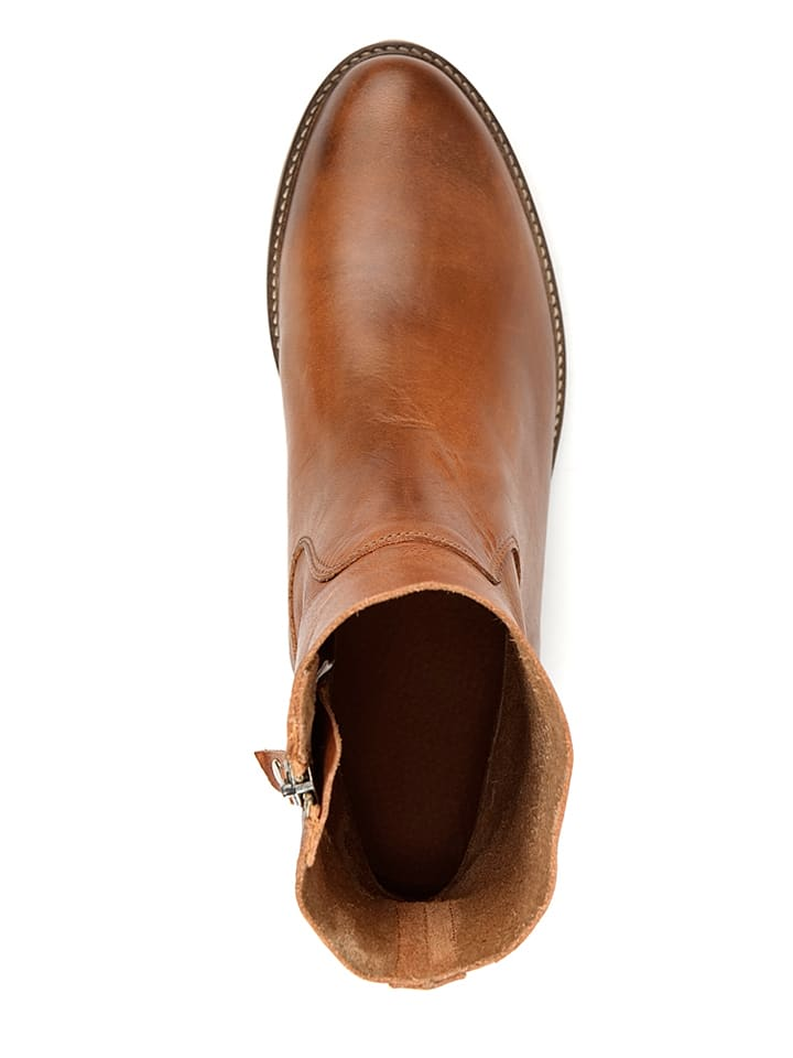"TRAVELIN' Leder-Stiefeletten ""Bordeaux"" in Cognac"