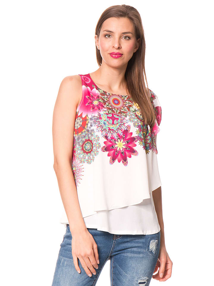 "Desigual Top ""Gemini"" in Creme/ Bunt"