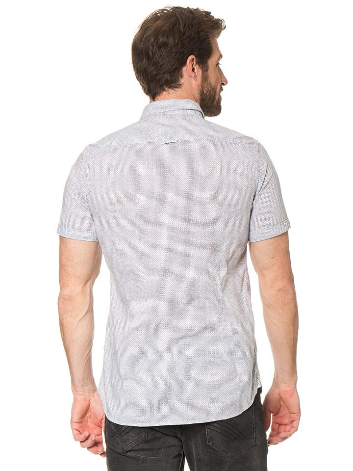 Tom Tailor Hemd in Weiß/ Dunkelblau