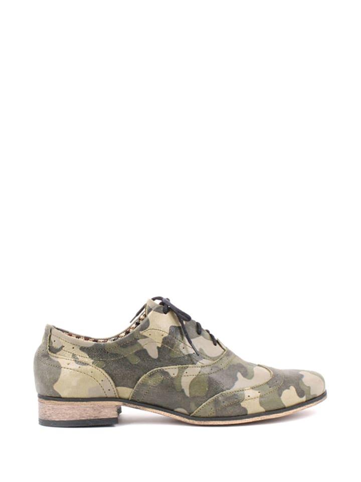 Zapato Leder-Schnürschuhe in Khaki