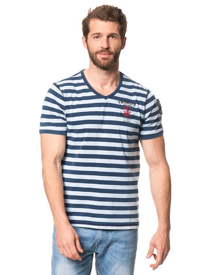 Twinlife Shirt in Dunkelblau/ Weiß