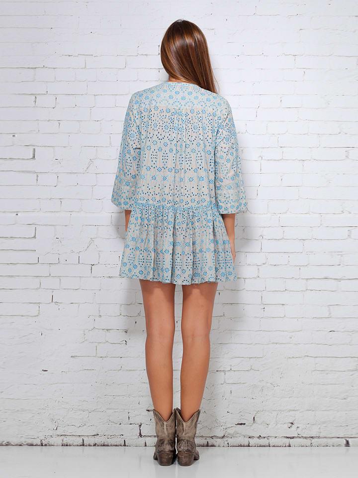 Calao Kleid in Beige/ Hellblau