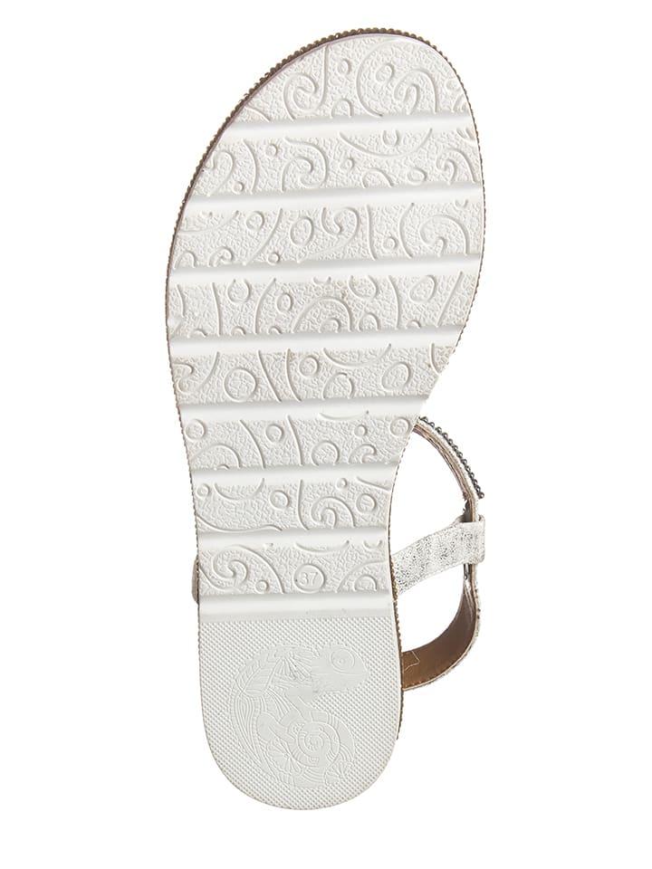 Laufsteg Zehentrenner in Silber/ Weiß