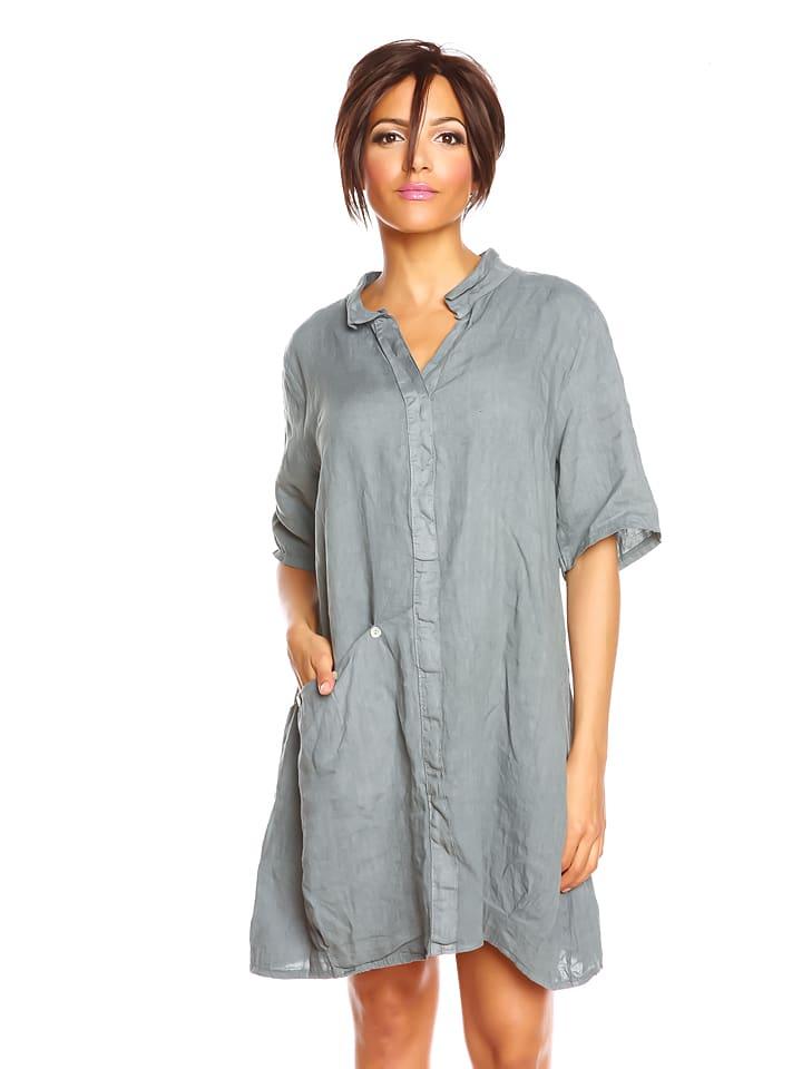 """100% LIN Leinen-Kleid """"Tali"""" in Grau"""