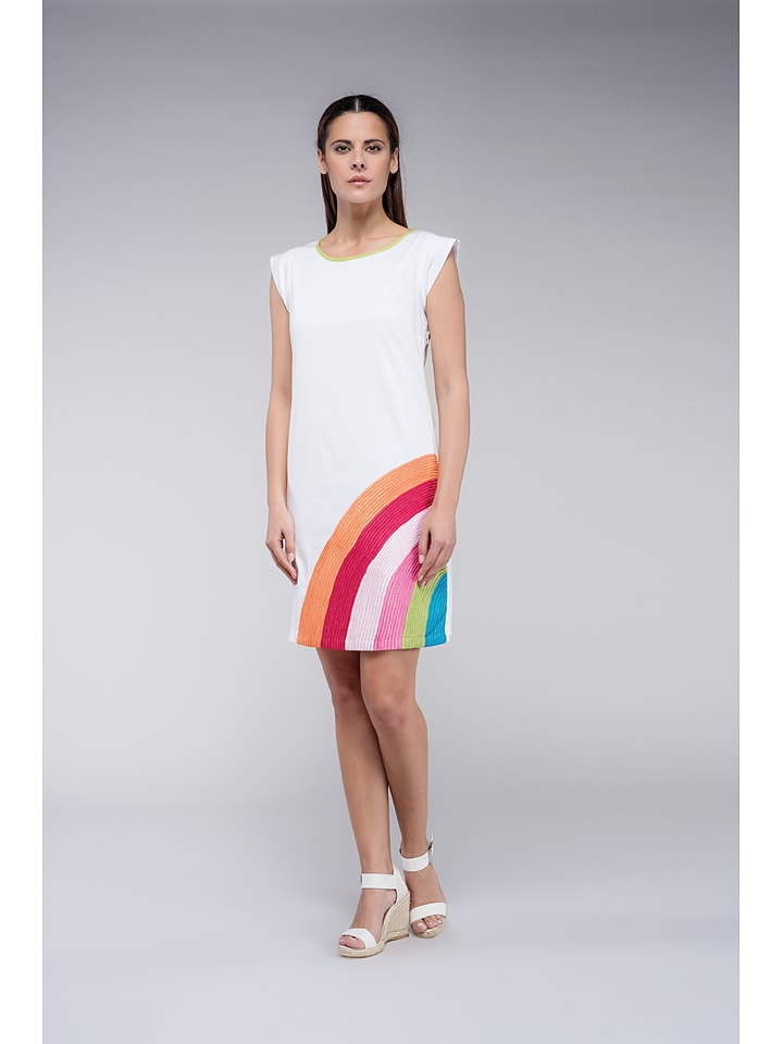 Niza Kleid in Weiß/ Bunt