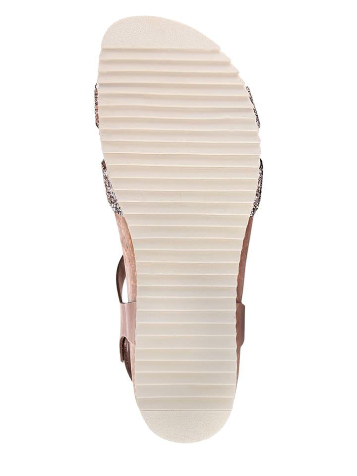 Miss Butterfly Leder-Sandalen in Braun/ Silber