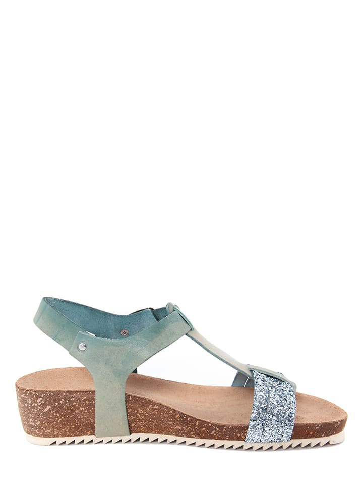 Miss Butterfly Leder-Sandalen in Blau