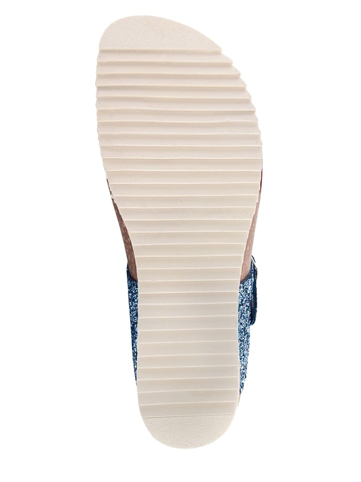 Miss Butterfly Leder-Zehentrenner in Blau