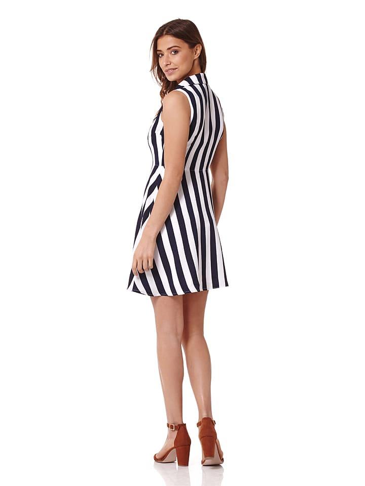Iska Kleid in Dunkelblau/ Weiß