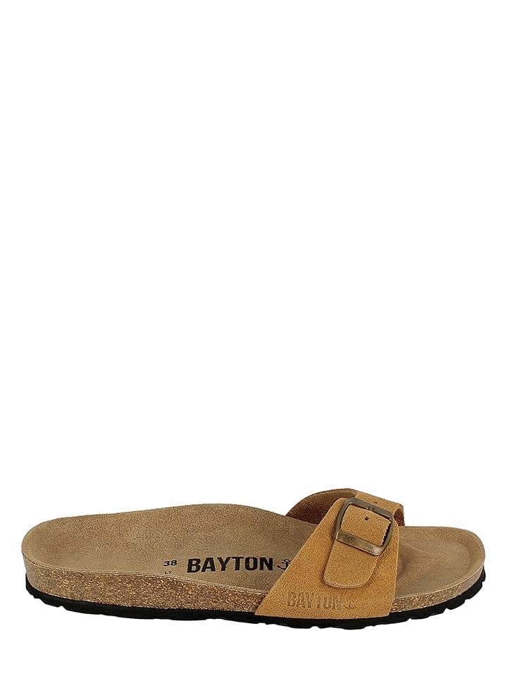 BAYTON Leder-Pantoletten in Hellbraun