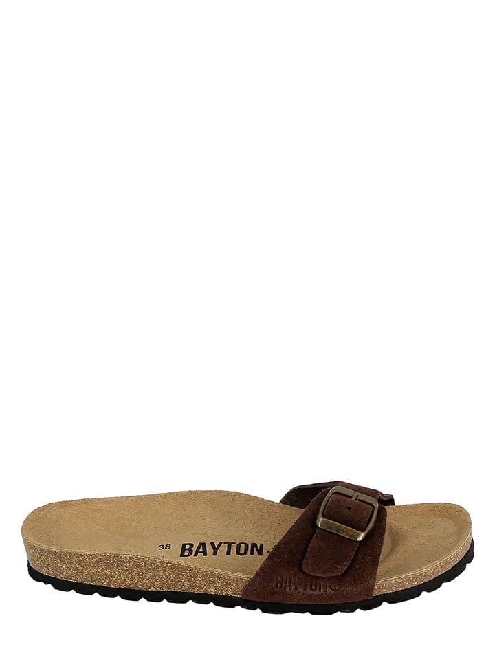 BAYTON Leder-Pantoletten in Dunkelbraun