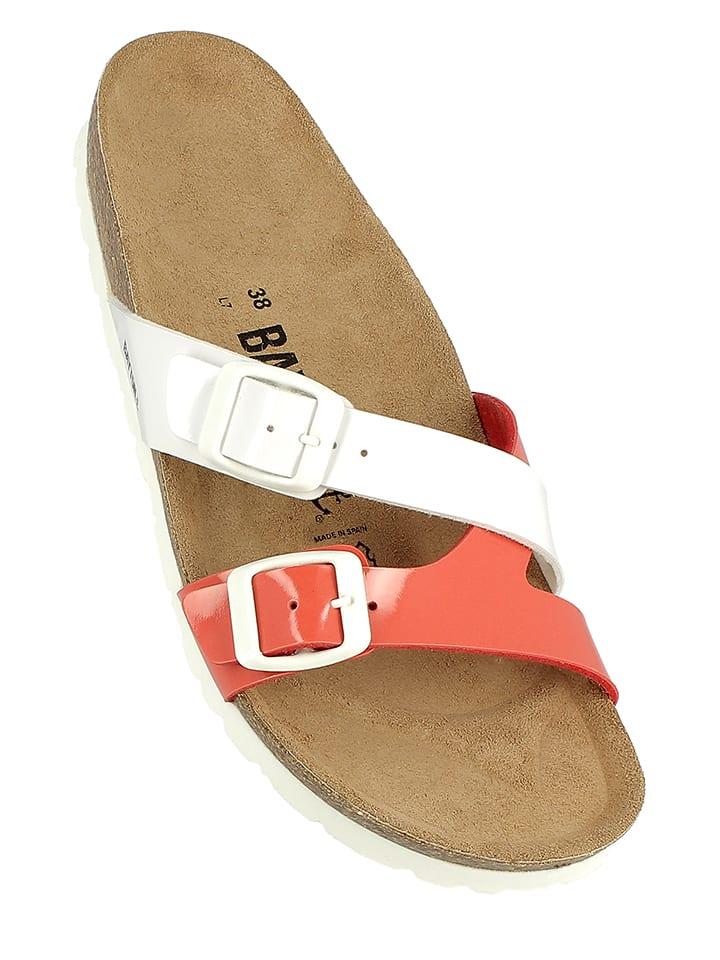 BAYTON Pantoletten in Weiß/ Rot