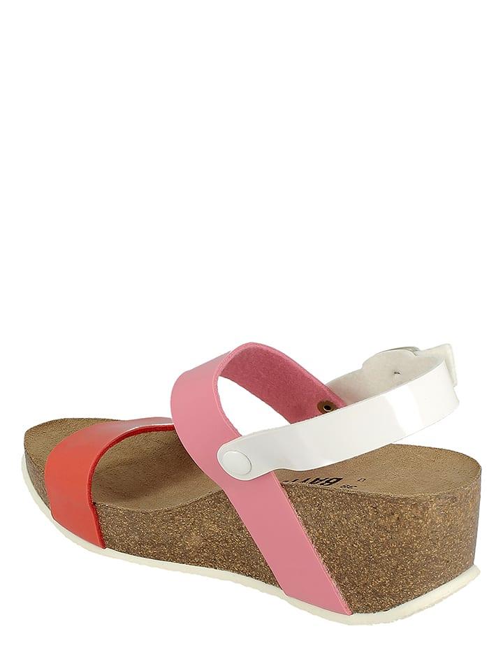 BAYTON Keil-Sandaletten in Koralle/ Rosa/ Weiß