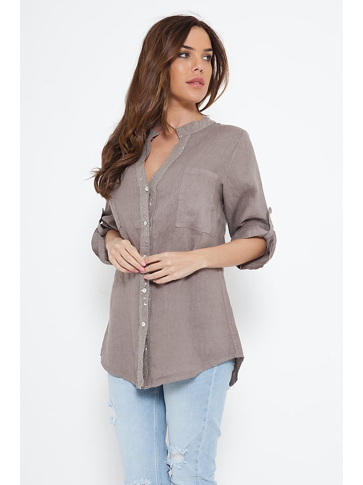 "Spécial Lin Leinen-Bluse ""Marine"" in Taupe"