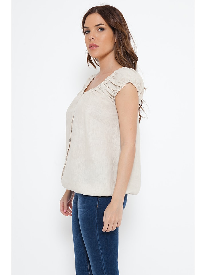 "Spécial Lin Leinen-Shirt ""Carla"" in Beige"