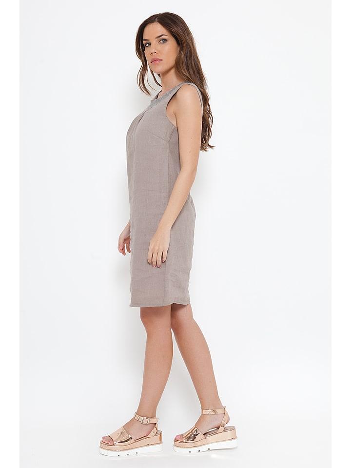 "Spécial Lin Leinen-Kleid ""Astrid"" in Taupe"