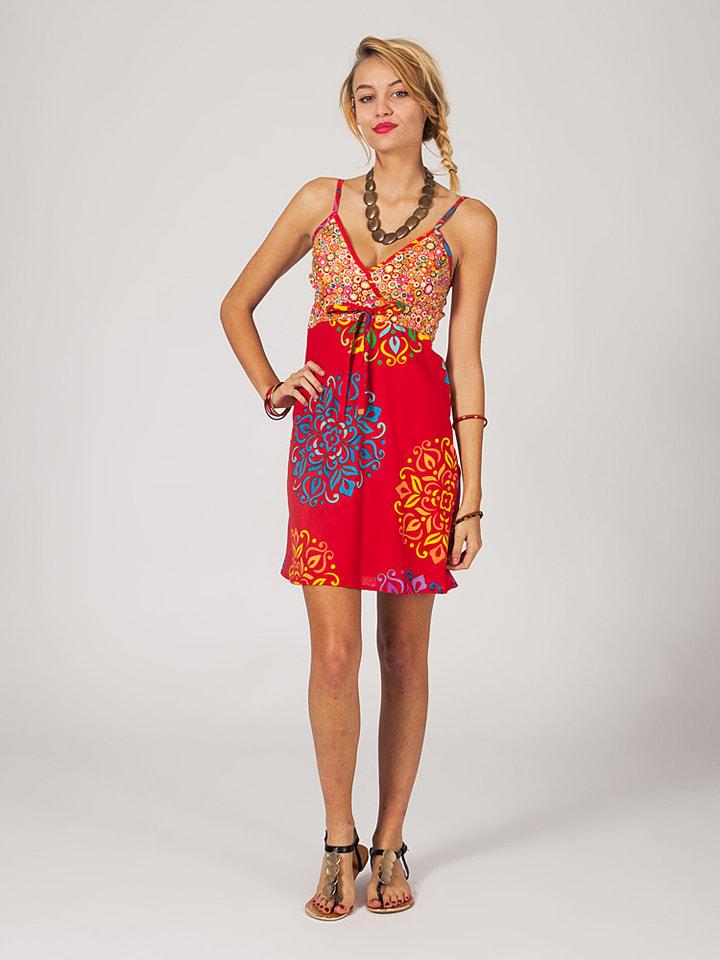 Chic bohème Kleid in Rot/ Bunt