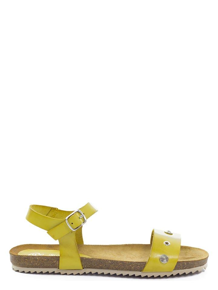 Abril Flowers Leder-Sandalen in Gelb