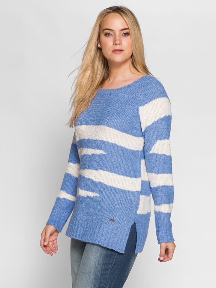 Sheego Pullover in Blau/ Creme