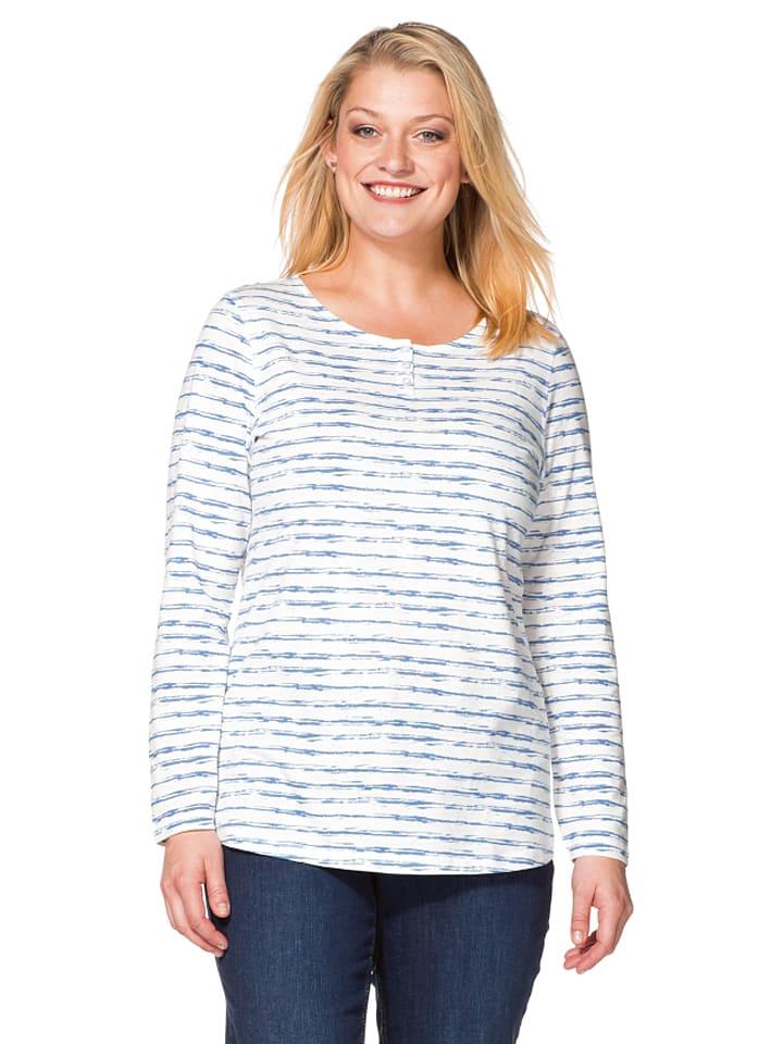 Sheego Shirt in Weiß/ Blau