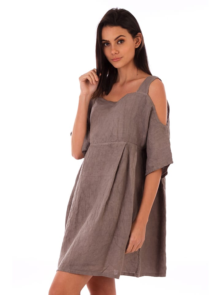 Lin Passion Leinen-Kleid in Taupe
