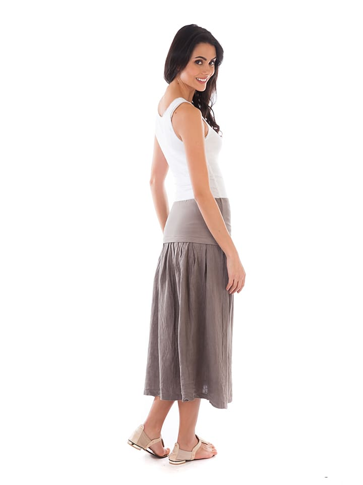 Lin Passion Leinen-Rock in Taupe
