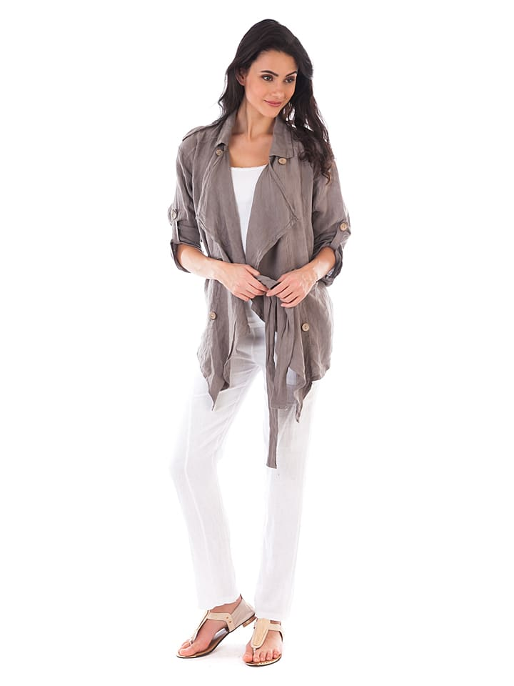 Lin Passion Leinen-Jacke in Taupe