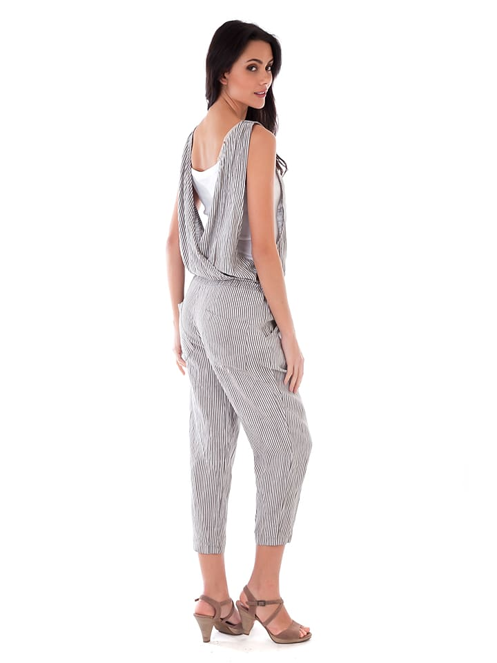 Lin Passion Leinen-Jumpsuit in Taupe/ Weiß