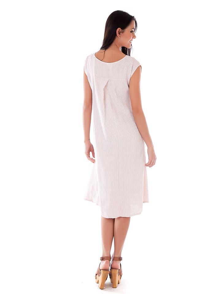 Lin Passion Leinen-Kleid in Rosa/ Weiß