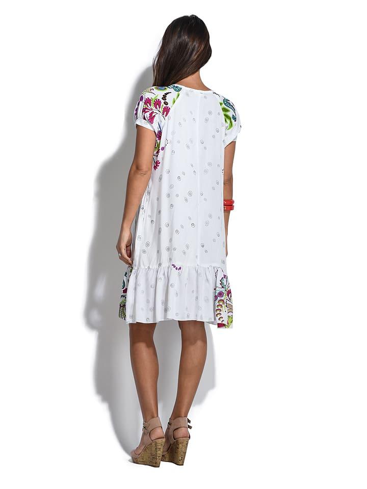"""COULEURS DU MONDE Kleid """"Swann"""" in Weiß"""