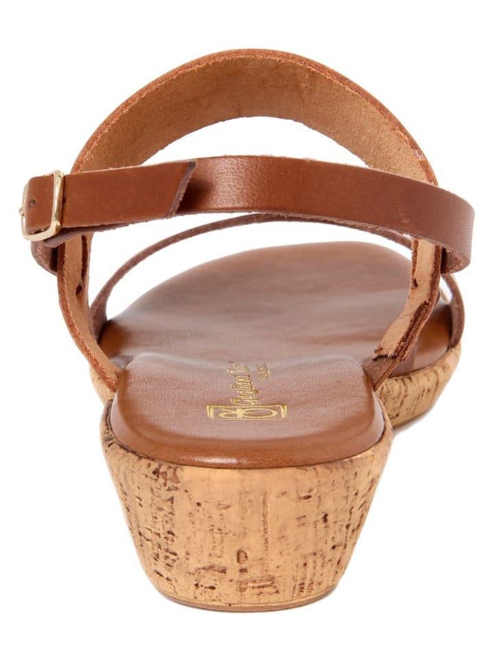Gagliani Renzo Leder-Sandaletten in Cognac/ Hellbraun