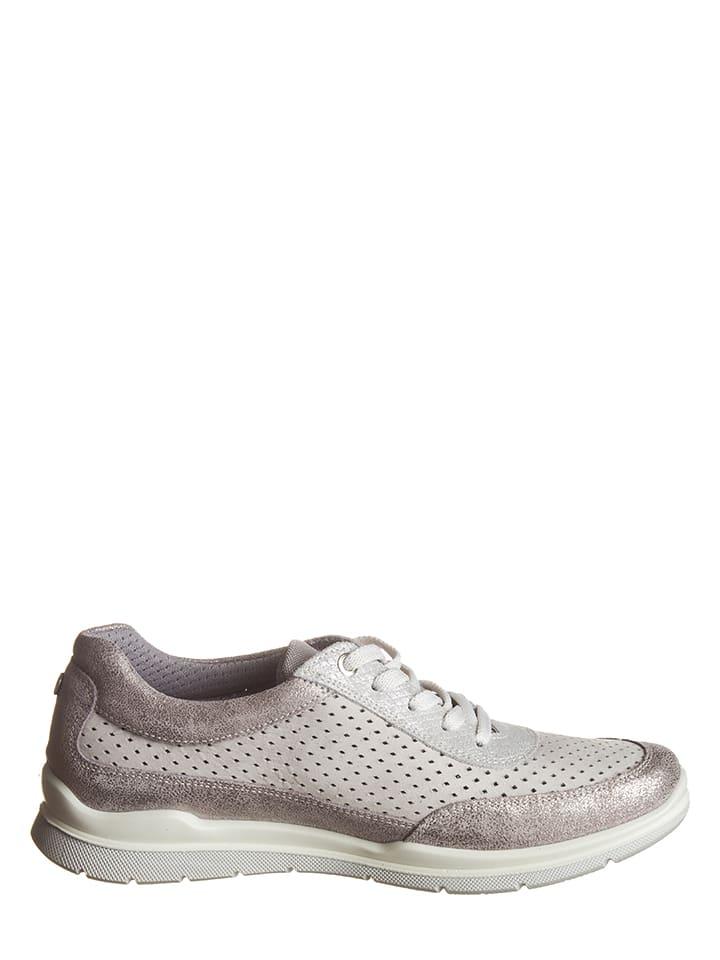 SALAMANDER Leder-Sneakers in Silber/ Hellgrau