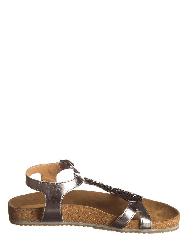 SALAMANDER Leder-Sandalen in Silber