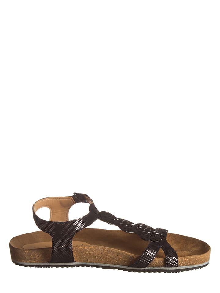 SALAMANDER Leder-Sandalen in Schwarz/ Silber