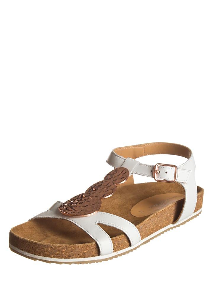 SALAMANDER Leder-Sandalen in Weiß/ Bronze